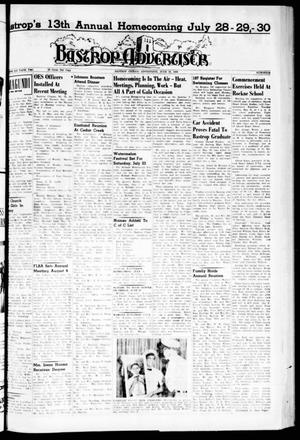 Primary view of object titled 'Bastrop Advertiser (Bastrop, Tex.), Vol. 108, No. 16, Ed. 1 Thursday, June 16, 1960'.