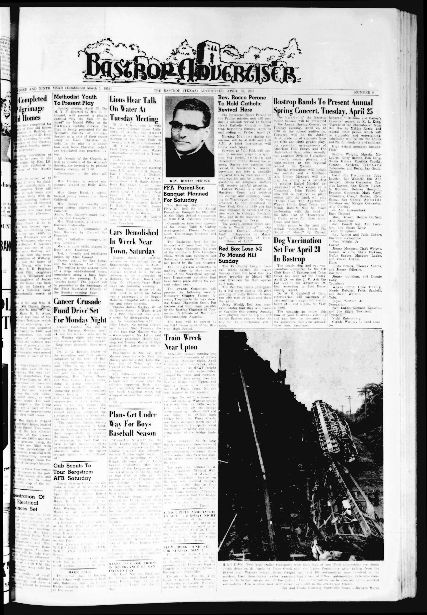 Bastrop Advertiser Tex Vol 109 No 8 Ed 1 Thursday Elvia Top Ml April 20 1961 Page Of The Portal To Texas History