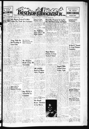 Primary view of object titled 'Bastrop Advertiser (Bastrop, Tex.), Vol. 109, No. 18, Ed. 1 Thursday, June 29, 1961'.