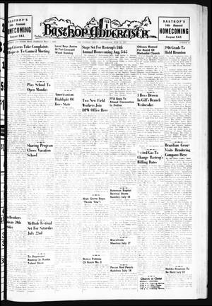 Primary view of object titled 'Bastrop Advertiser (Bastrop, Tex.), Vol. 109, No. 20, Ed. 1 Thursday, July 13, 1961'.