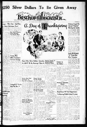 Primary view of object titled 'Bastrop Advertiser (Bastrop, Tex.), Vol. 109, No. 39, Ed. 1 Thursday, November 23, 1961'.