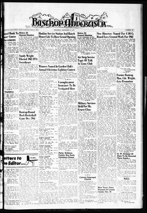 Primary view of object titled 'Bastrop Advertiser (Bastrop, Tex.), Vol. 109, No. 44, Ed. 1 Thursday, December 28, 1961'.