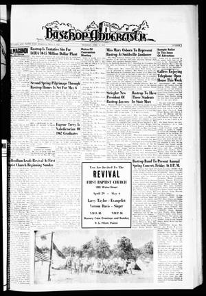 Primary view of object titled 'Bastrop Advertiser (Bastrop, Tex.), Vol. 110, No. 9, Ed. 1 Thursday, April 26, 1962'.