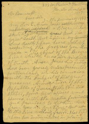 Primary view of object titled 'Letter draft (partial) to Mr. Bancroft, 28 March 1889'.