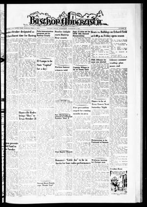 Primary view of object titled 'Bastrop Advertiser (Bastrop, Tex.), Vol. 110, No. 28, Ed. 1 Thursday, September 6, 1962'.