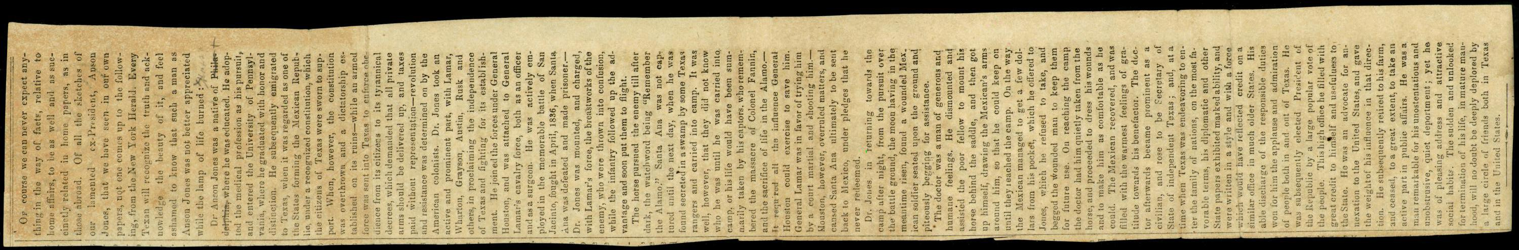 Anson Jones. Obituary. 1858                                                                                                      [Sequence #]: 1 of 1