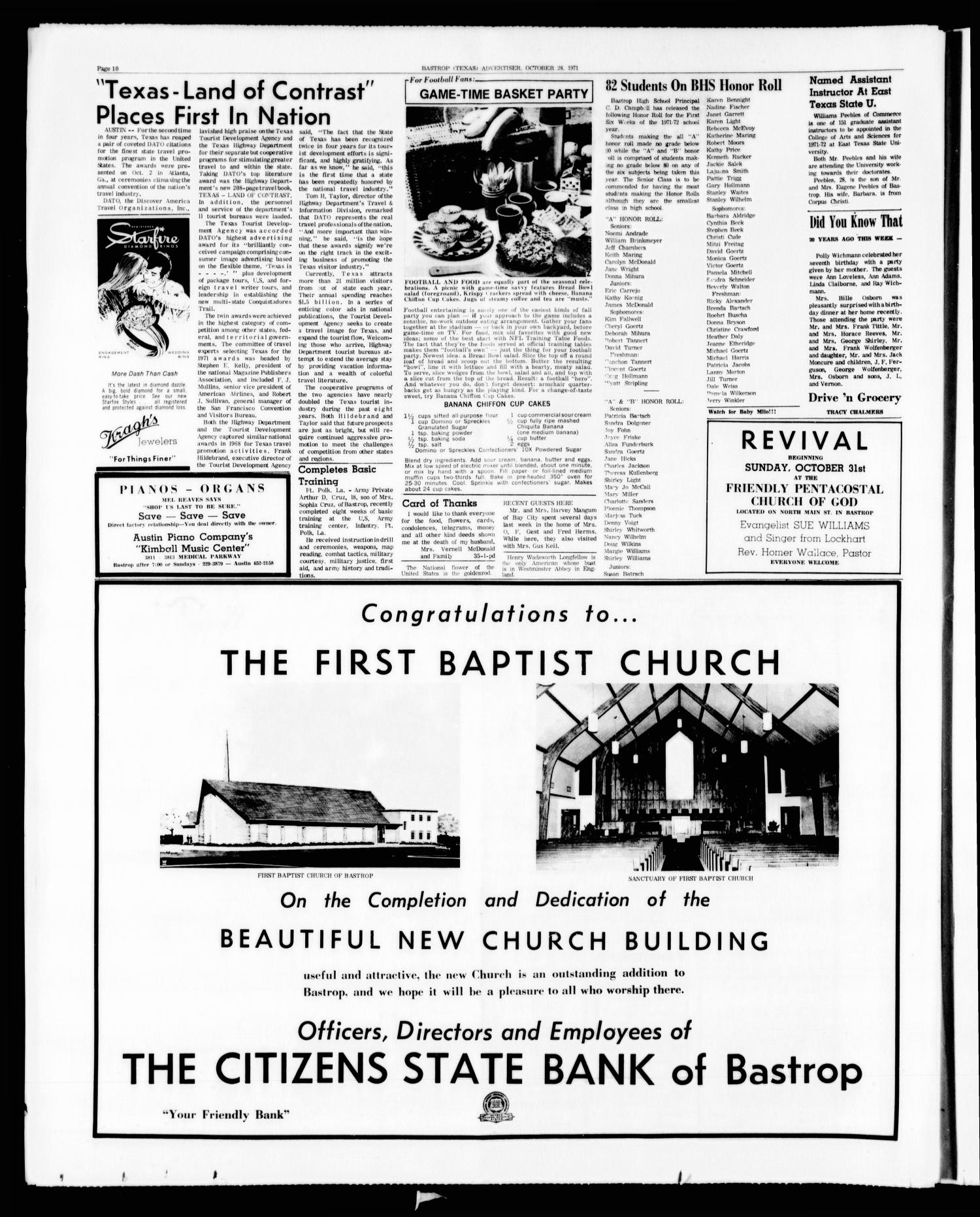 Bastrop Advertiser and Bastrop County News (Bastrop, Tex.), Vol. [118], No. 35, Ed. 1 Thursday, October 28, 1971                                                                                                      [Sequence #]: 10 of 12