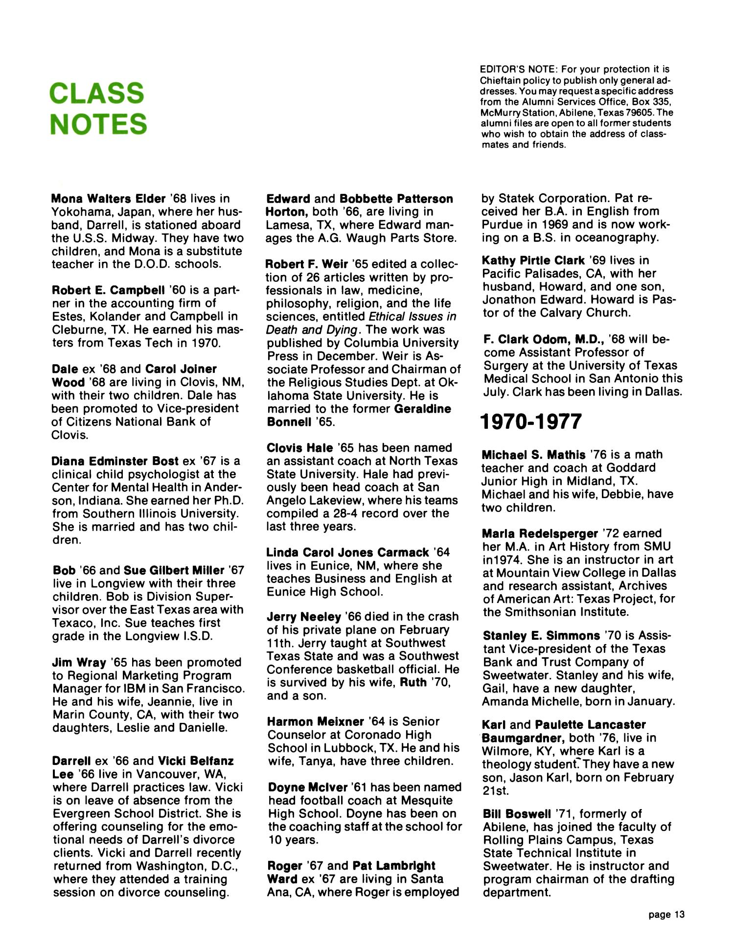 Chieftain, Volume 27, Number 2, Spring 1978 - Page 13 - The