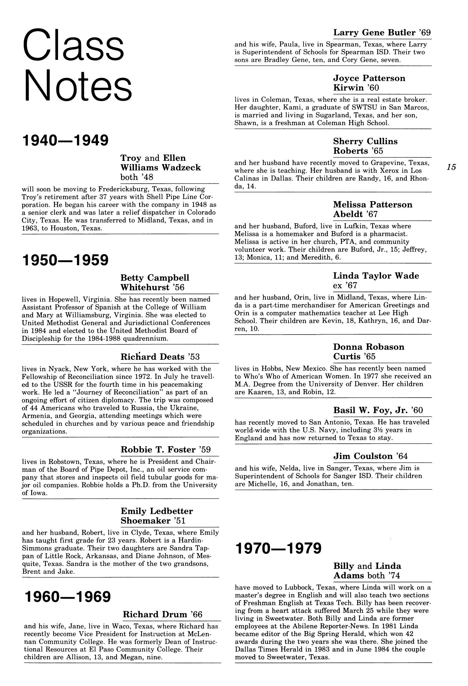 Chieftain Volume 34 Number 3 Fall 1985 Page 15 The Portal To