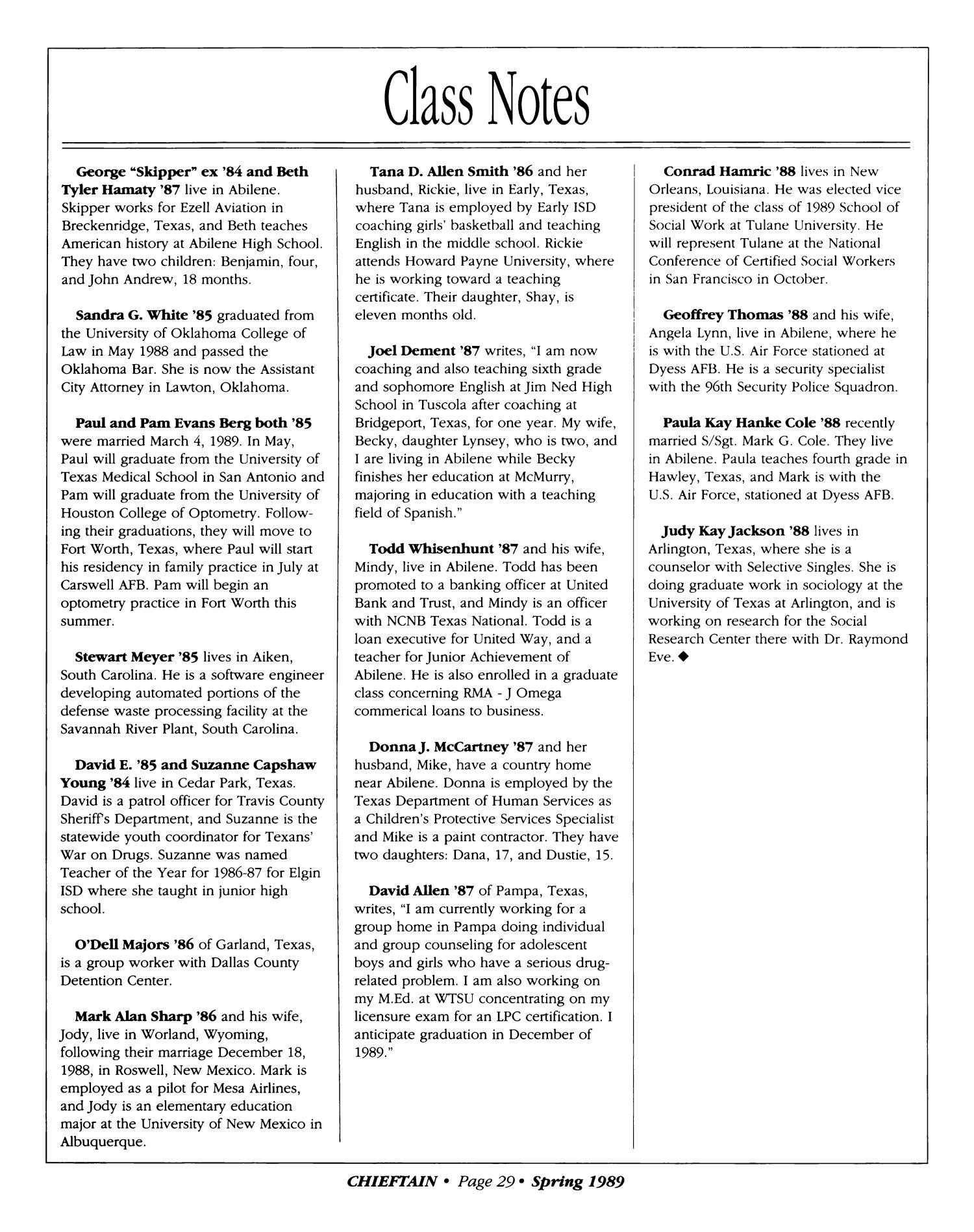 Chieftain Volume 39 Number 1 Spring 1989 Page 29 The Portal