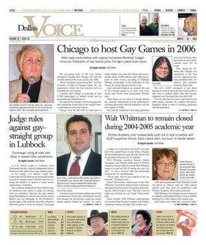Primary view of object titled 'Dallas Voice (Dallas, Tex.), Vol. 20, No. 44, Ed. 1 Friday, March 5, 2004'.