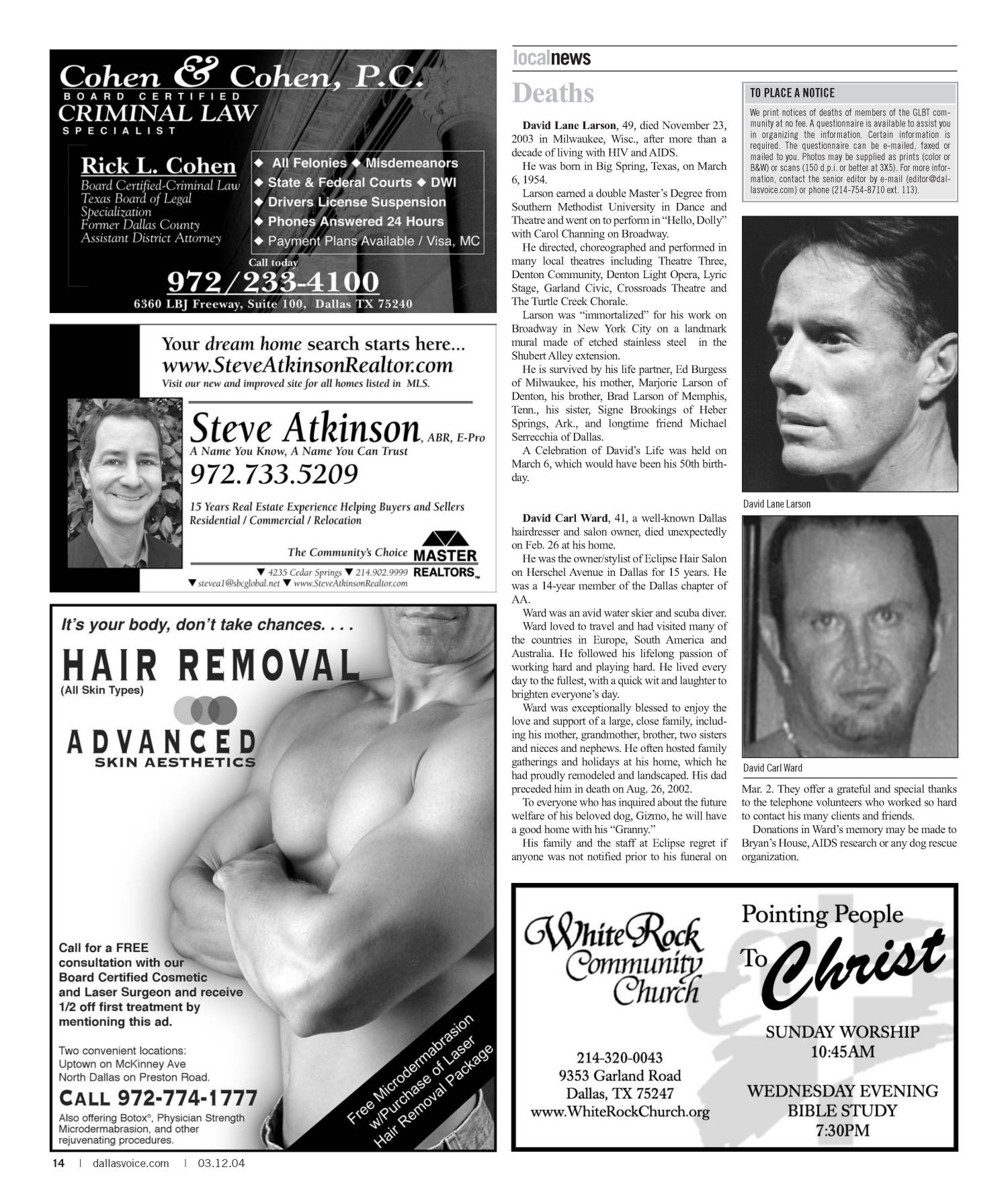 Dallas Voice (Dallas, Tex.), Vol. 20, No. 45, Ed. 1 Friday, March 12, 2004                                                                                                      [Sequence #]: 14 of 72