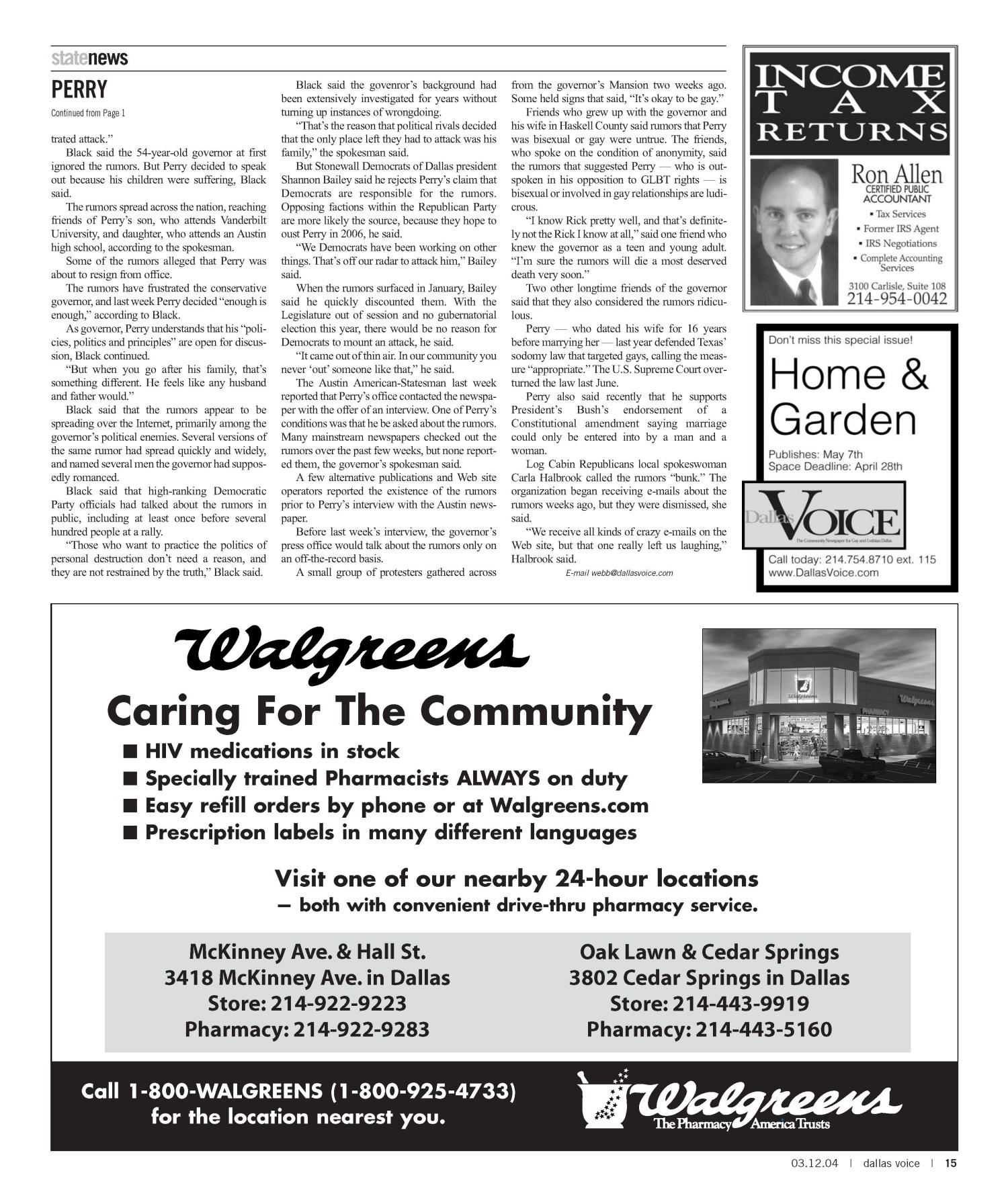 Dallas Voice (Dallas, Tex.), Vol. 20, No. 45, Ed. 1 Friday, March 12, 2004                                                                                                      [Sequence #]: 15 of 72