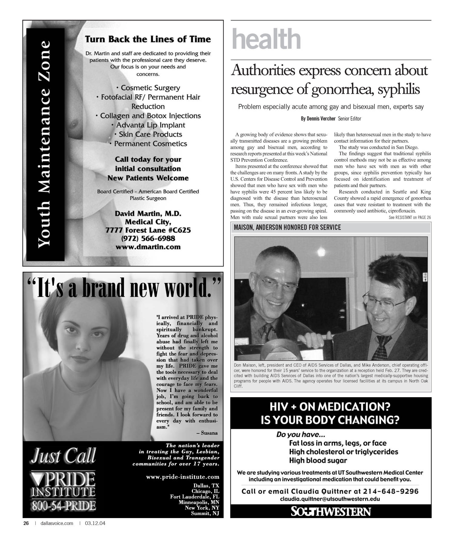 Dallas Voice (Dallas, Tex.), Vol. 20, No. 45, Ed. 1 Friday, March 12, 2004                                                                                                      [Sequence #]: 26 of 72