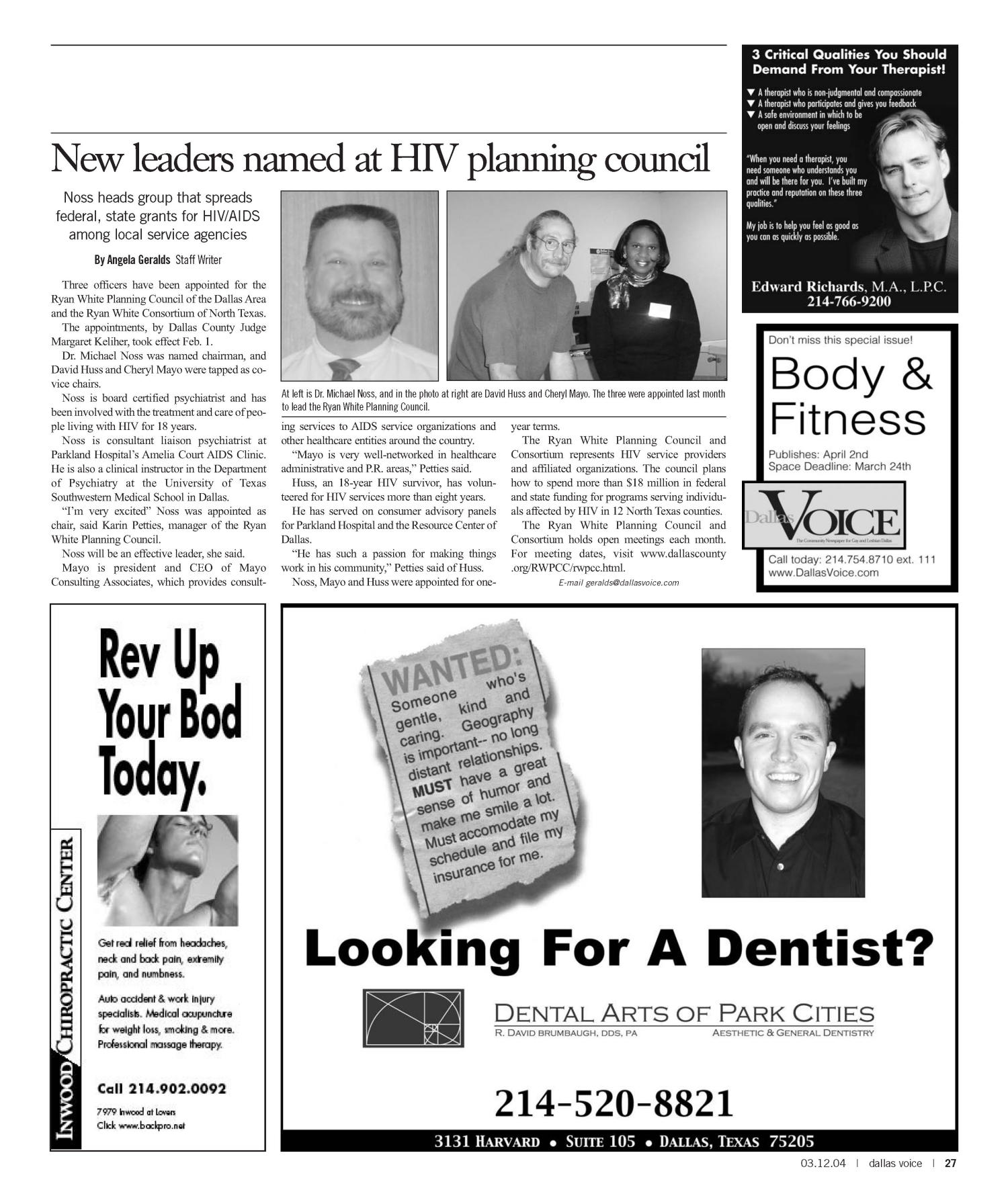 Dallas Voice (Dallas, Tex.), Vol. 20, No. 45, Ed. 1 Friday, March 12, 2004                                                                                                      [Sequence #]: 27 of 72