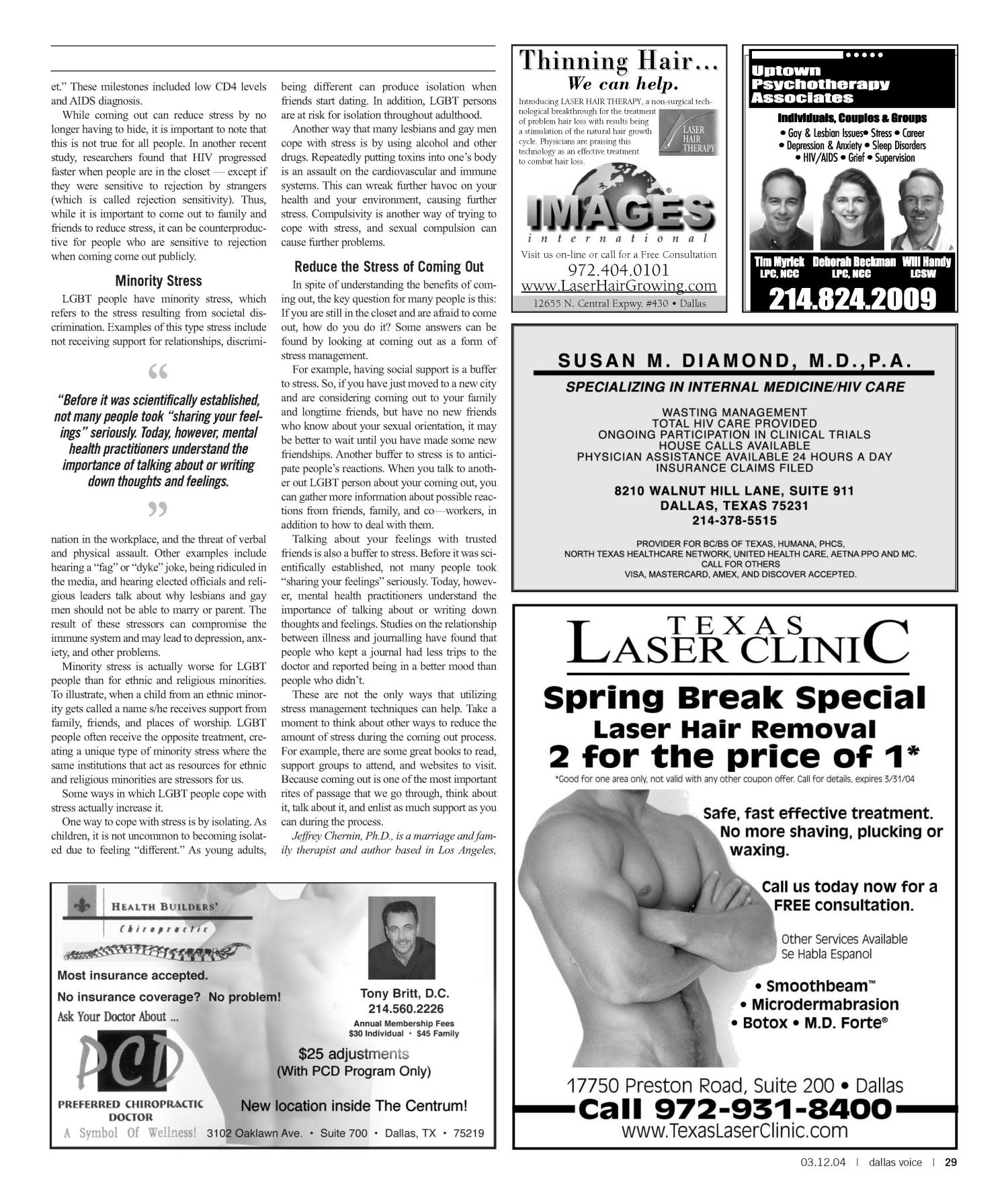 Dallas Voice (Dallas, Tex.), Vol. 20, No. 45, Ed. 1 Friday, March 12, 2004                                                                                                      [Sequence #]: 29 of 72