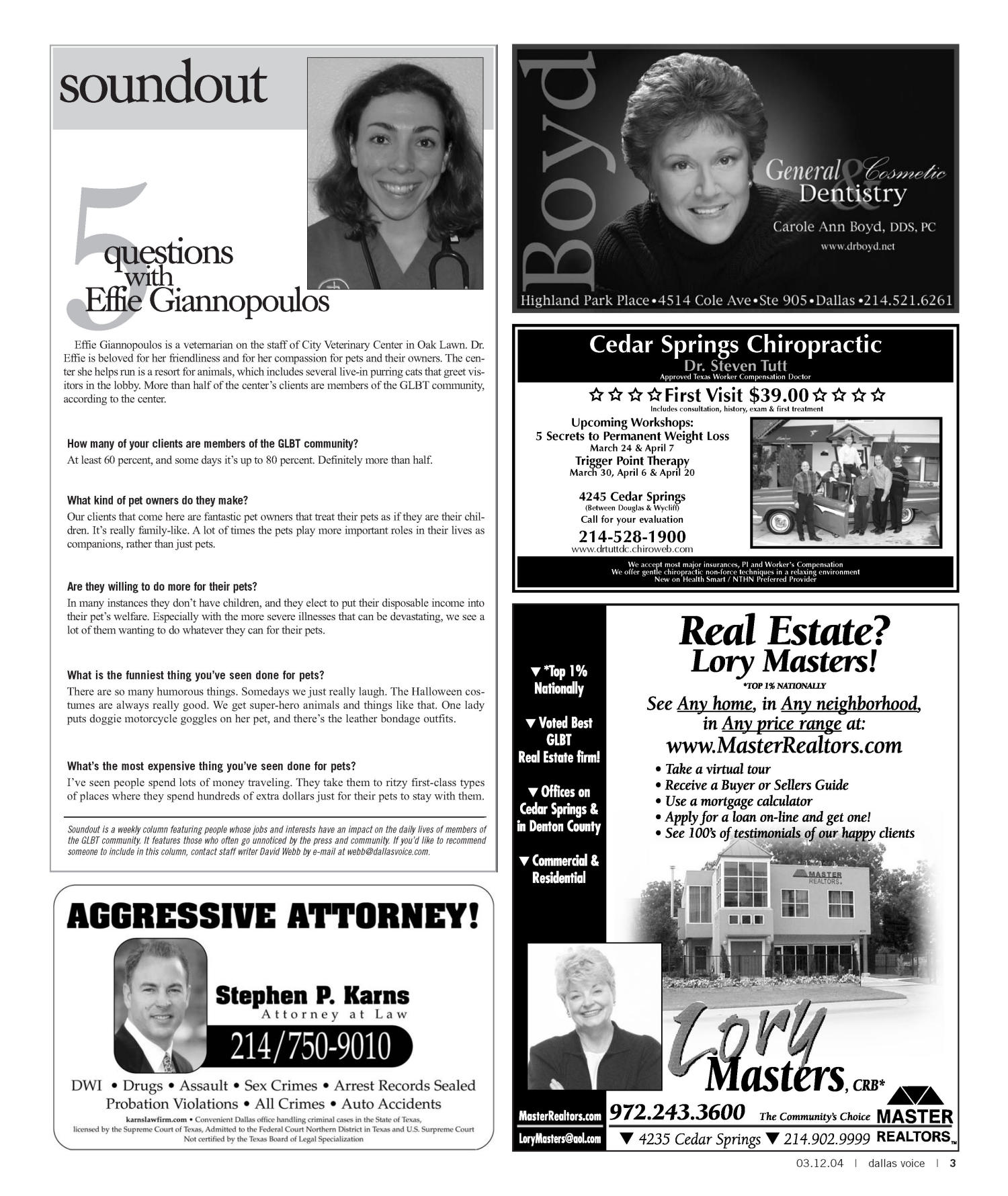 Dallas Voice (Dallas, Tex.), Vol. 20, No. 45, Ed. 1 Friday, March 12, 2004                                                                                                      [Sequence #]: 3 of 72