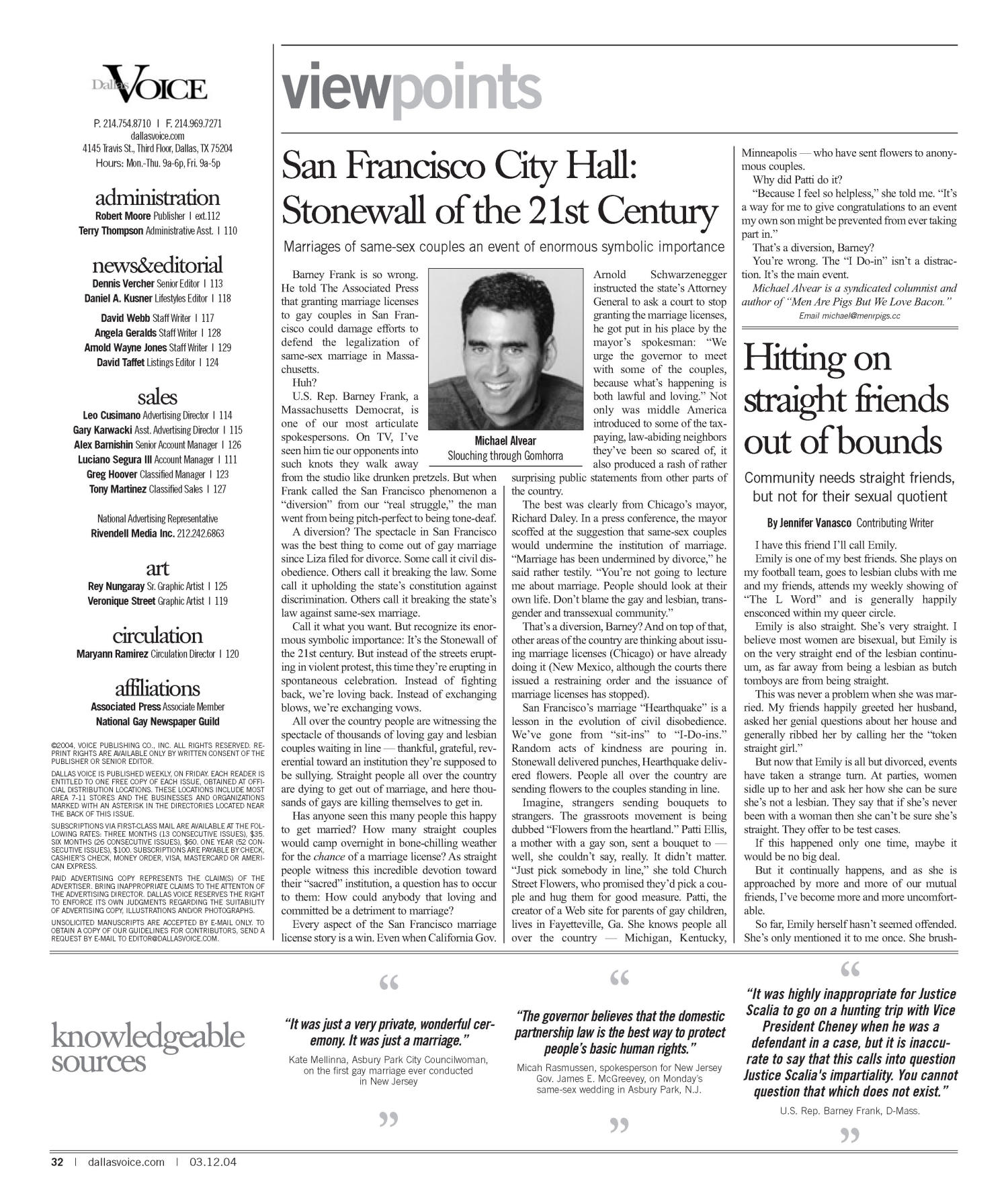 Dallas Voice (Dallas, Tex.), Vol. 20, No. 45, Ed. 1 Friday, March 12, 2004                                                                                                      [Sequence #]: 32 of 72