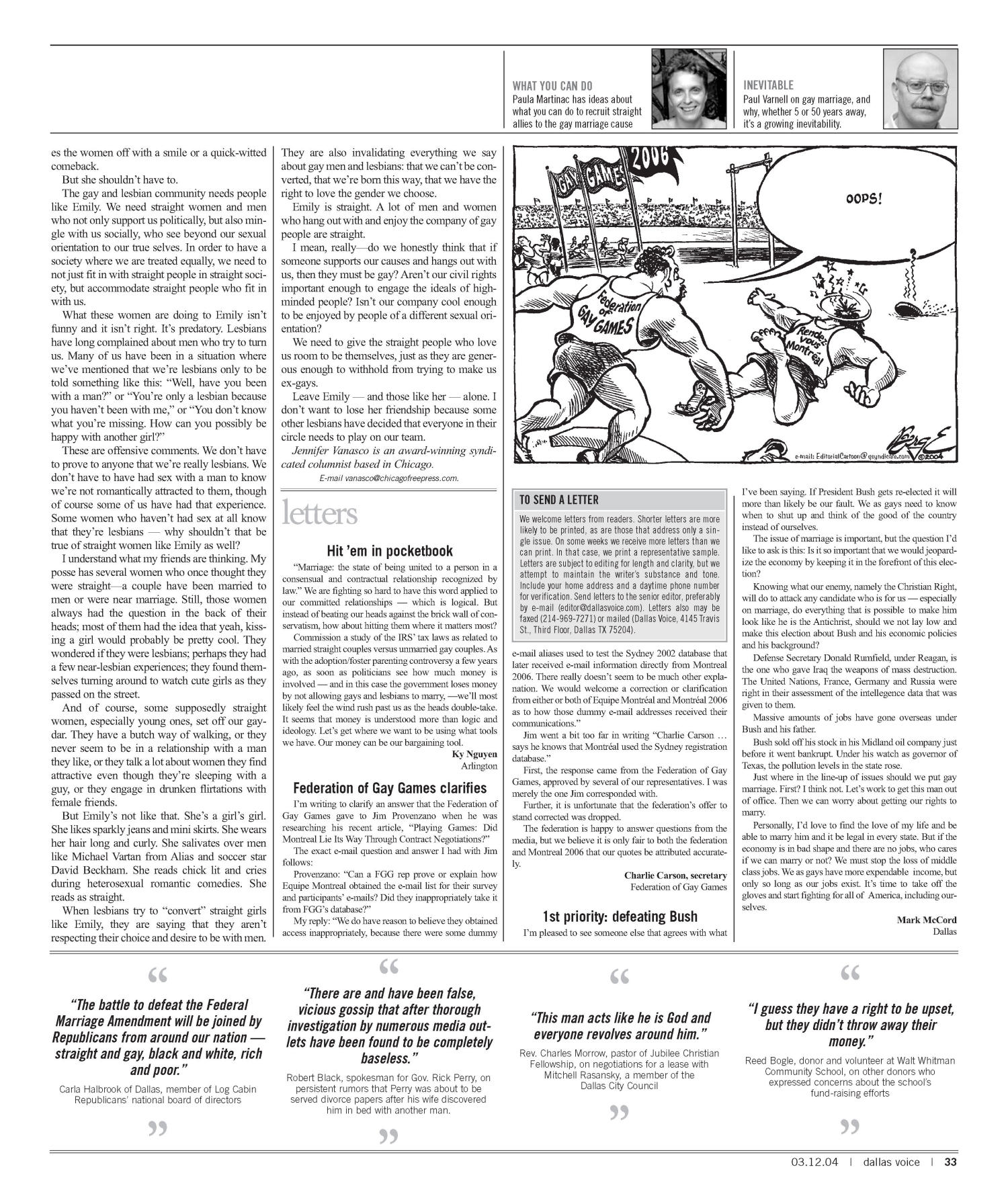 Dallas Voice (Dallas, Tex.), Vol. 20, No. 45, Ed. 1 Friday, March 12, 2004                                                                                                      [Sequence #]: 33 of 72