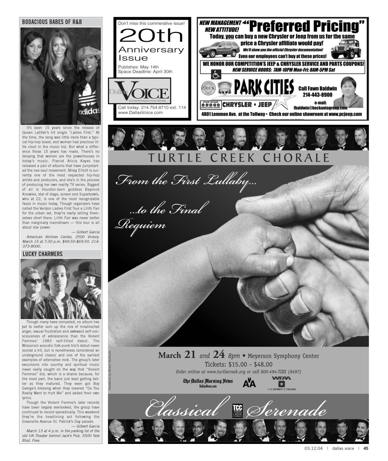 Dallas Voice (Dallas, Tex.), Vol. 20, No. 45, Ed. 1 Friday, March 12, 2004                                                                                                      [Sequence #]: 45 of 72