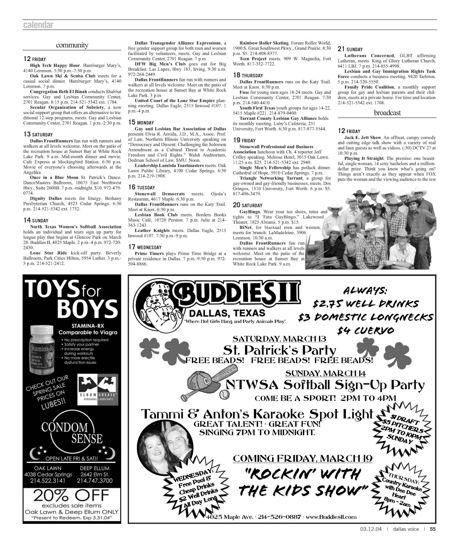 Dallas Voice (Dallas, Tex.), Vol. 20, No. 45, Ed. 1 Friday, March 12, 2004                                                                                                      [Sequence #]: 55 of 72