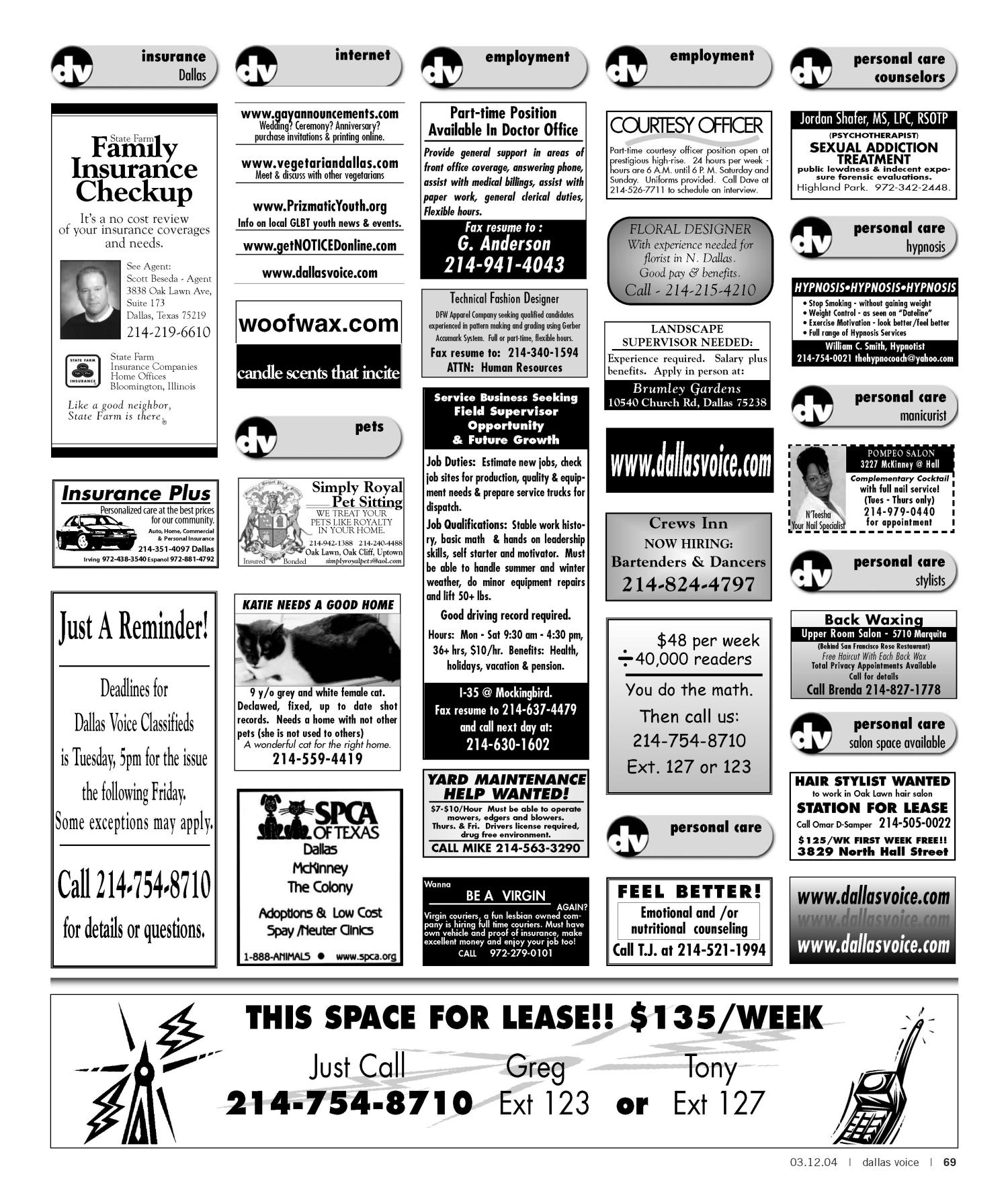 Dallas Voice (Dallas, Tex.), Vol. 20, No. 45, Ed. 1 Friday, March 12, 2004                                                                                                      [Sequence #]: 69 of 72