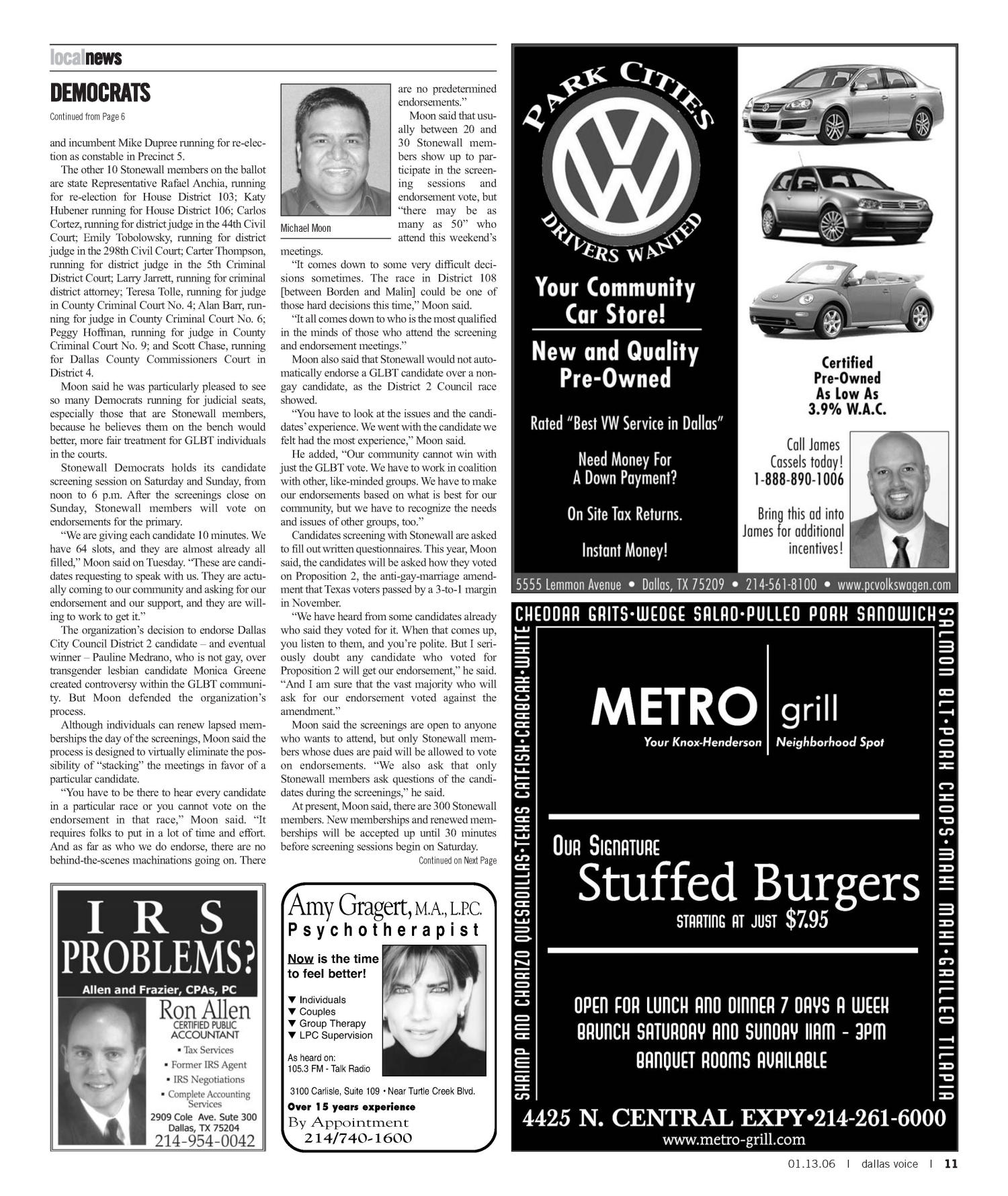 Dallas Voice (Dallas, Tex.), Vol. 22, No. 35, Ed. 1 Friday, January 13, 2006                                                                                                      [Sequence #]: 11 of 60