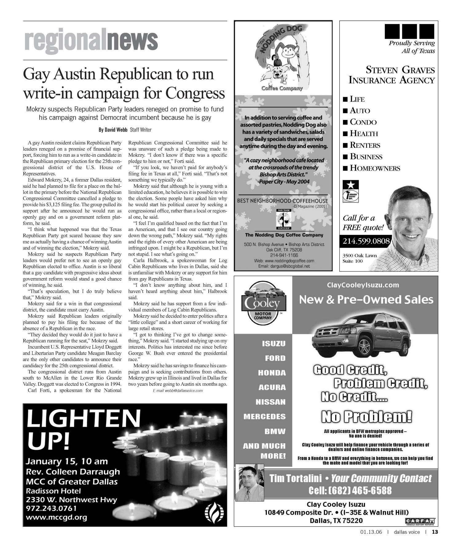 Dallas Voice (Dallas, Tex.), Vol. 22, No. 35, Ed. 1 Friday, January 13, 2006                                                                                                      [Sequence #]: 13 of 60