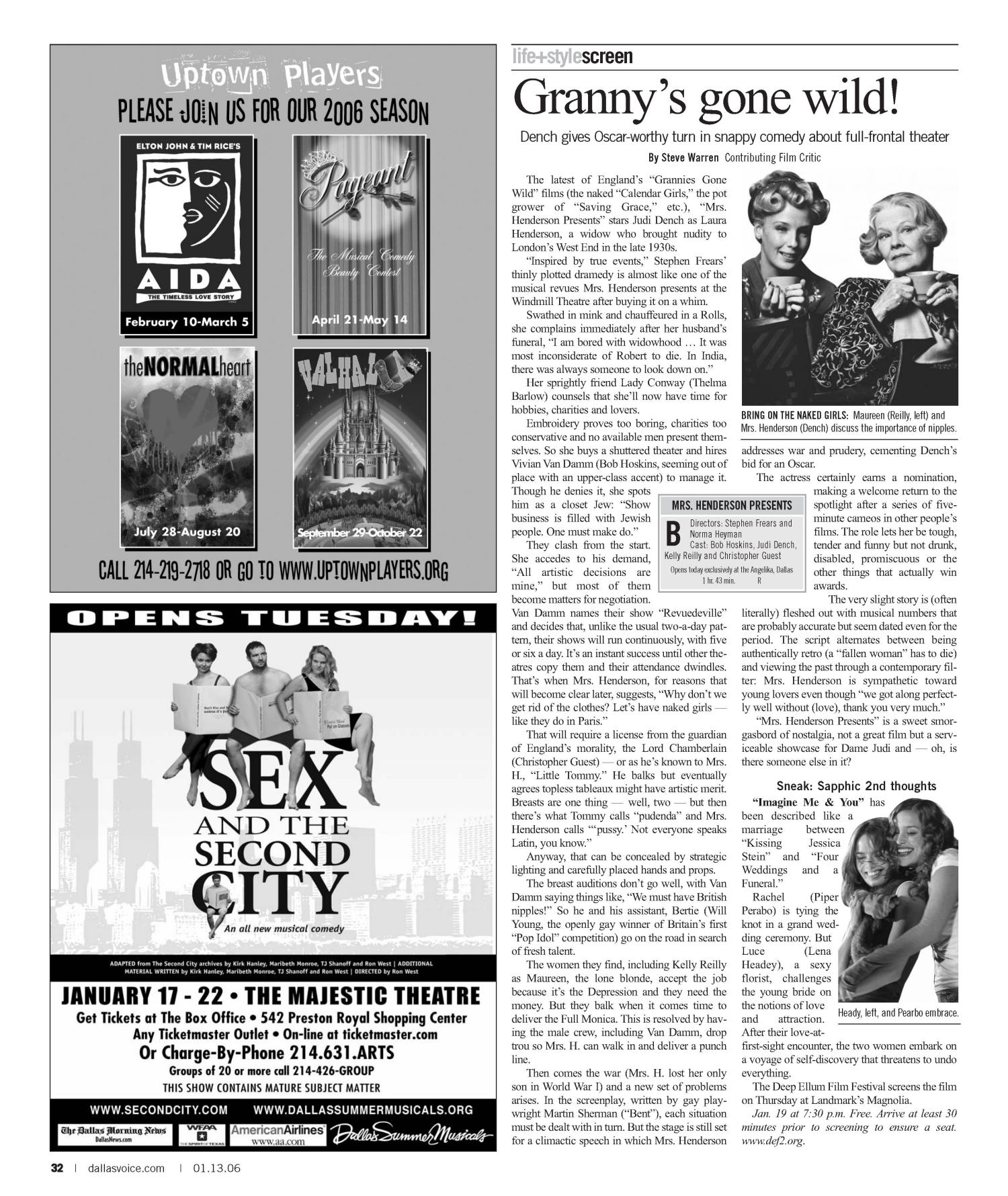 Dallas Voice (Dallas, Tex.), Vol. 22, No. 35, Ed. 1 Friday, January 13, 2006                                                                                                      [Sequence #]: 32 of 60