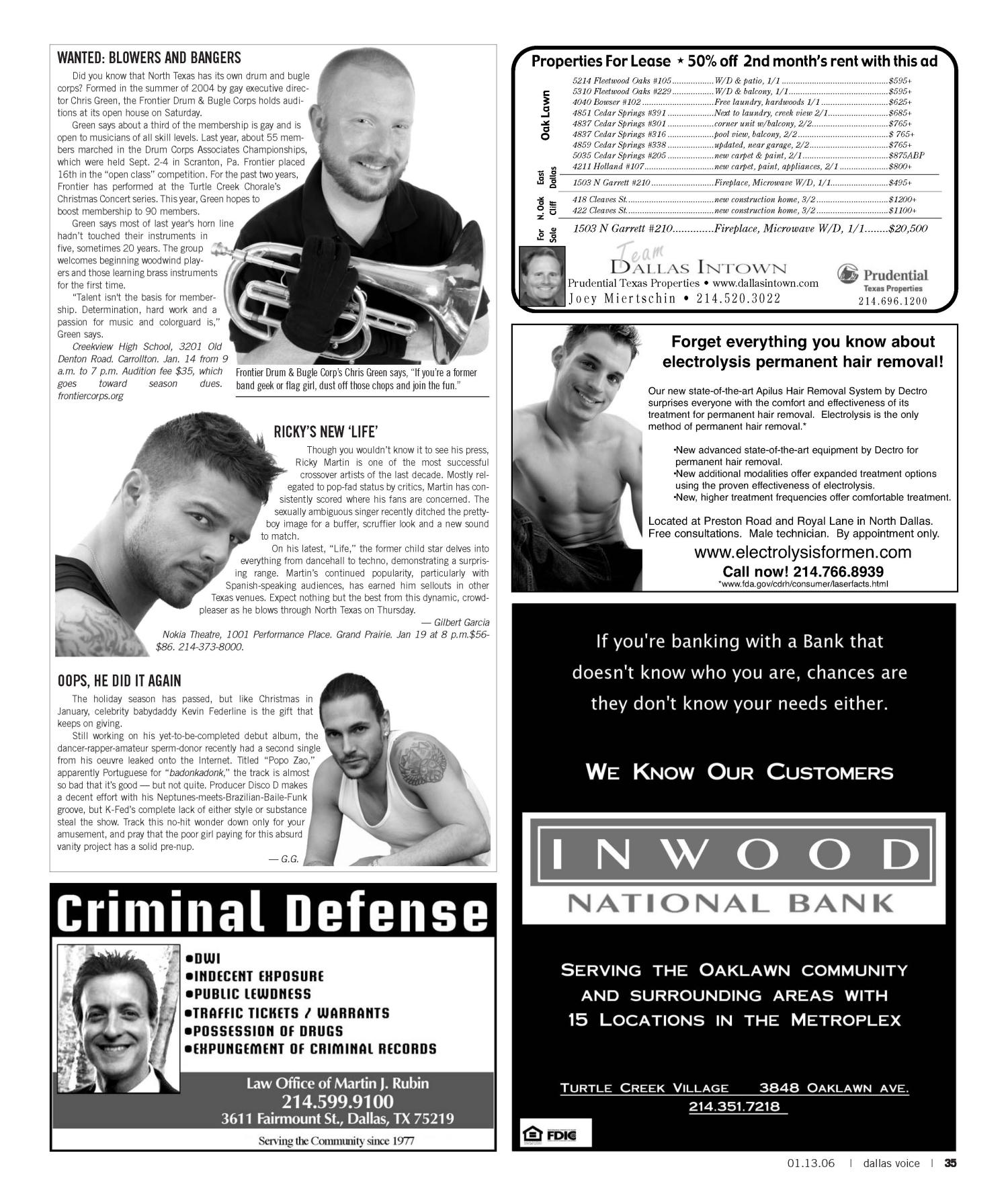 Dallas Voice (Dallas, Tex.), Vol. 22, No. 35, Ed. 1 Friday, January 13, 2006                                                                                                      [Sequence #]: 35 of 60