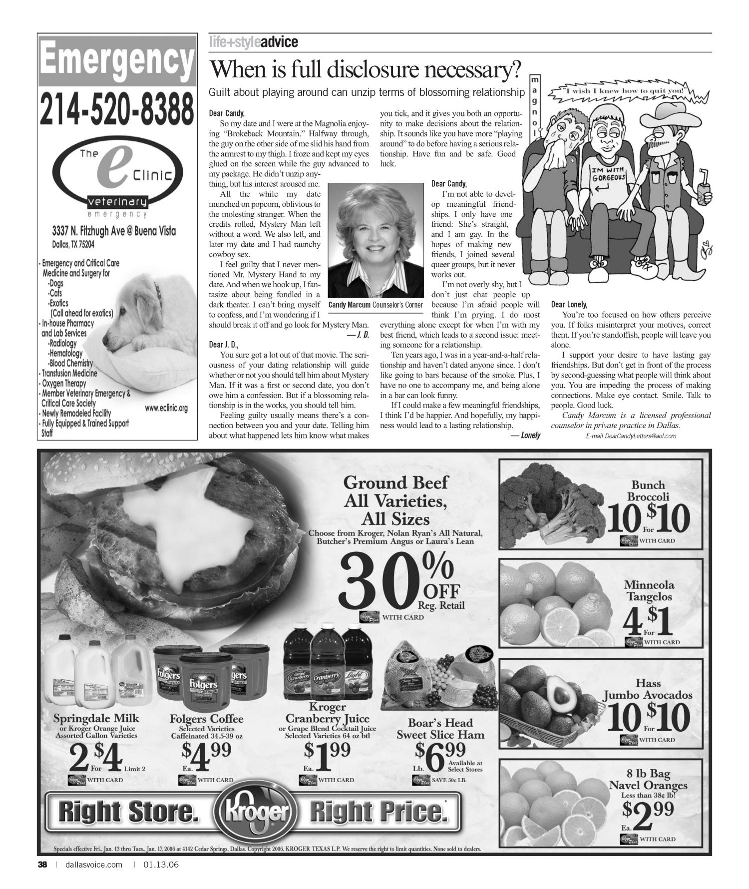 Dallas Voice (Dallas, Tex.), Vol. 22, No. 35, Ed. 1 Friday, January 13, 2006                                                                                                      [Sequence #]: 38 of 60