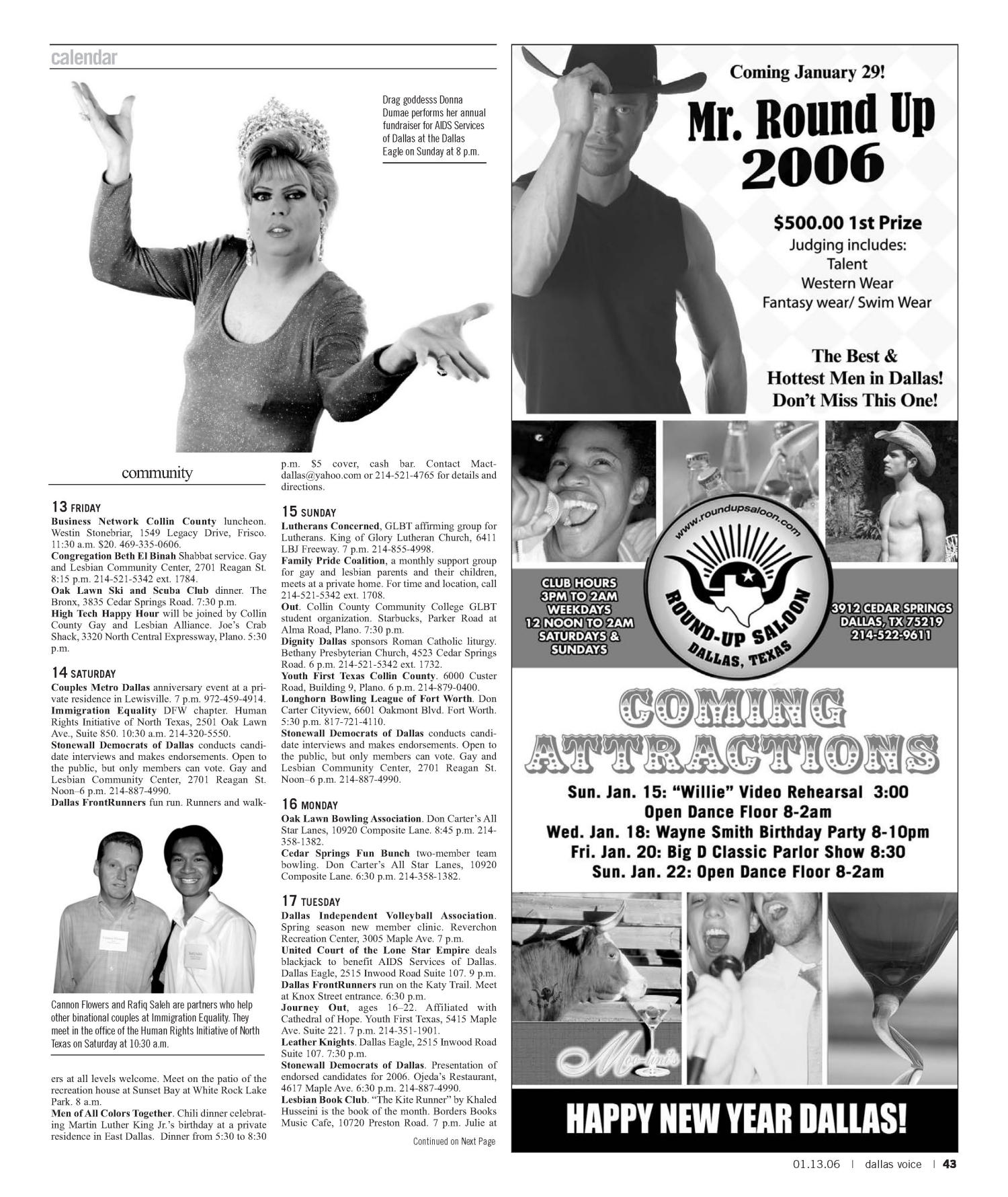 Dallas Voice (Dallas, Tex.), Vol. 22, No. 35, Ed. 1 Friday, January 13, 2006                                                                                                      [Sequence #]: 43 of 60