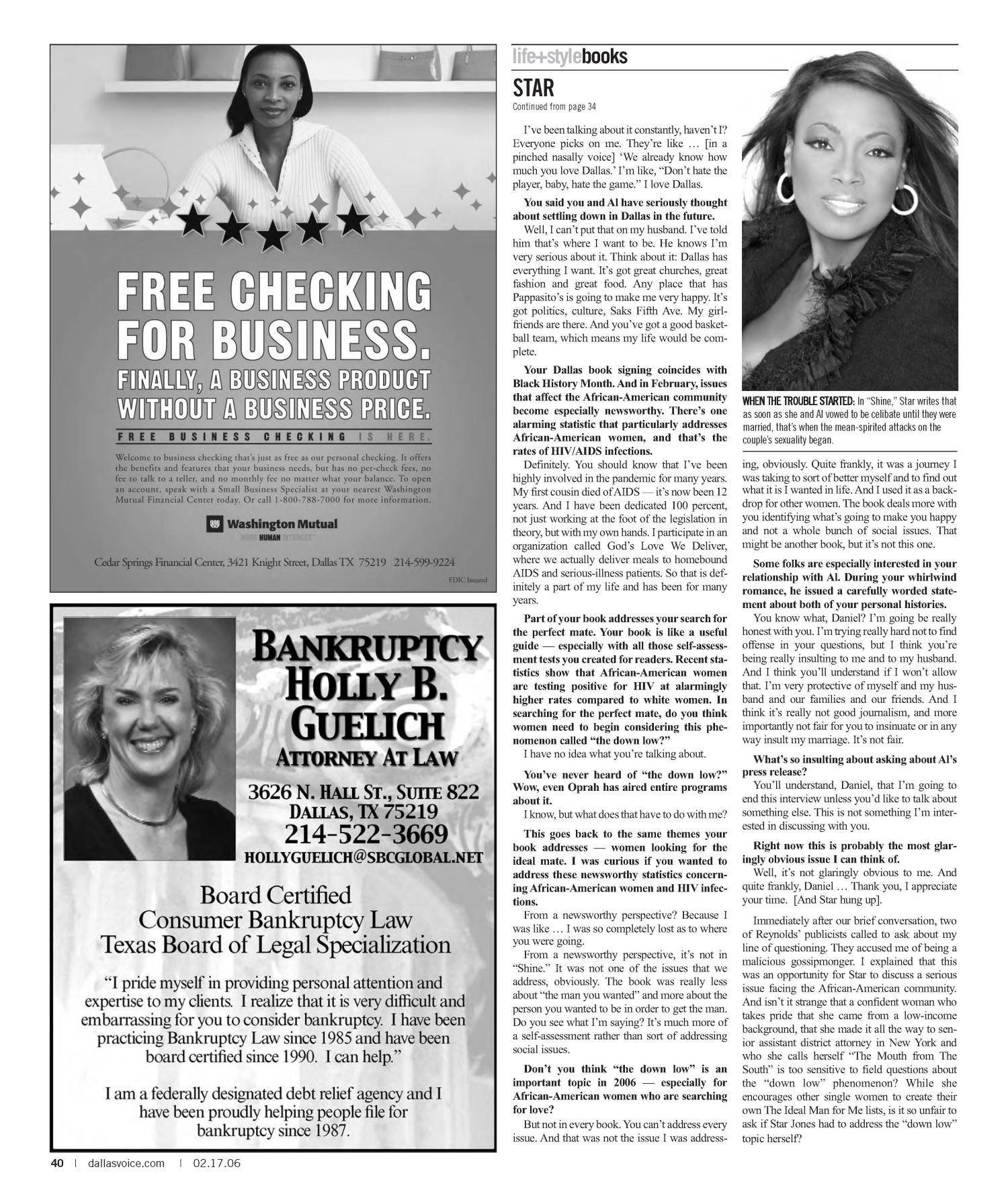Dallas Voice (Dallas, Tex.), Vol. 22, No. 40, Ed. 1 Friday, February 17, 2006                                                                                                      [Sequence #]: 40 of 72
