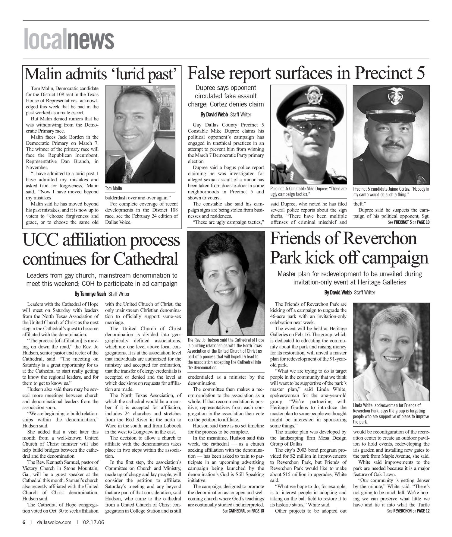 Dallas Voice (Dallas, Tex.), Vol. 22, No. 40, Ed. 1 Friday, February 17, 2006                                                                                                      [Sequence #]: 6 of 72