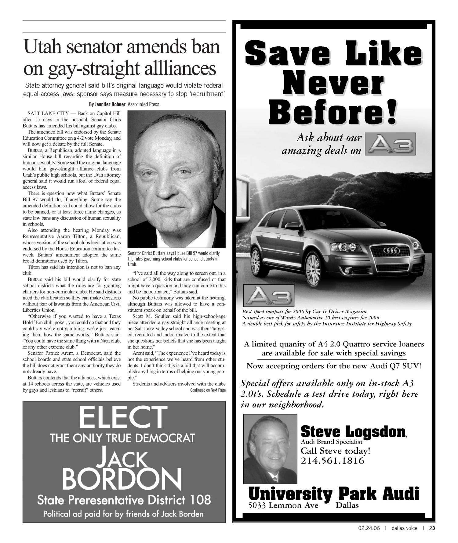 Dallas Voice (Dallas, Tex.), Vol. 22, No. 41, Ed. 1 Friday, February 24, 2006                                                                                                      [Sequence #]: 23 of 100