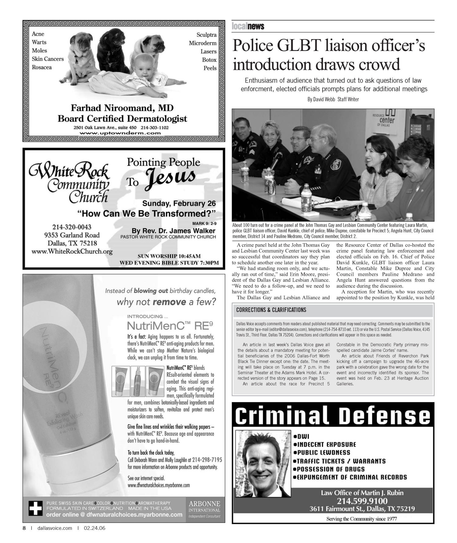 Dallas Voice (Dallas, Tex.), Vol. 22, No. 41, Ed. 1 Friday, February 24, 2006                                                                                                      [Sequence #]: 8 of 100