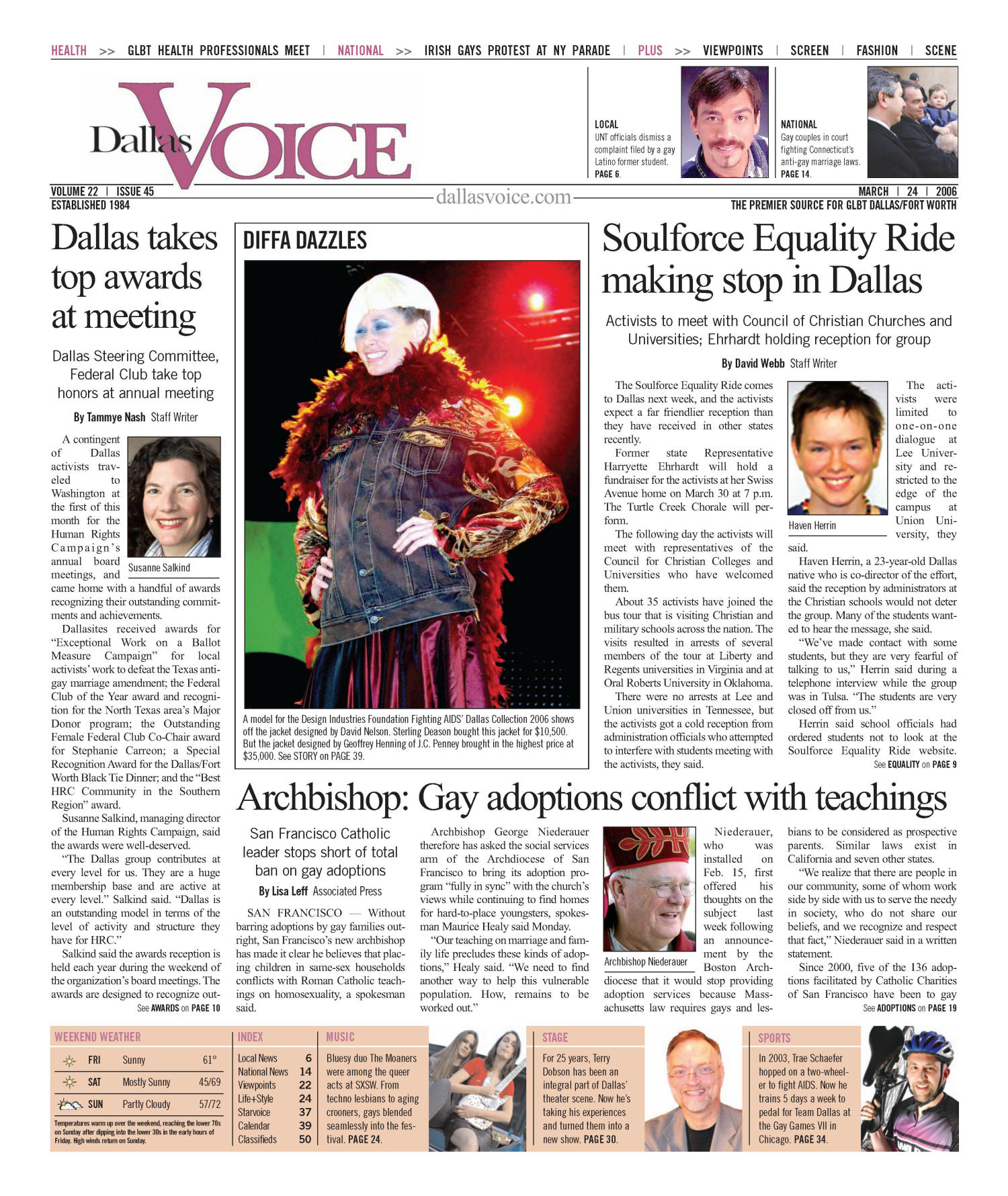 Dallas Voice (Dallas, Tex.), Vol. 22, No. 45, Ed. 1 Friday, March 24, 2006                                                                                                      [Sequence #]: 1 of 56