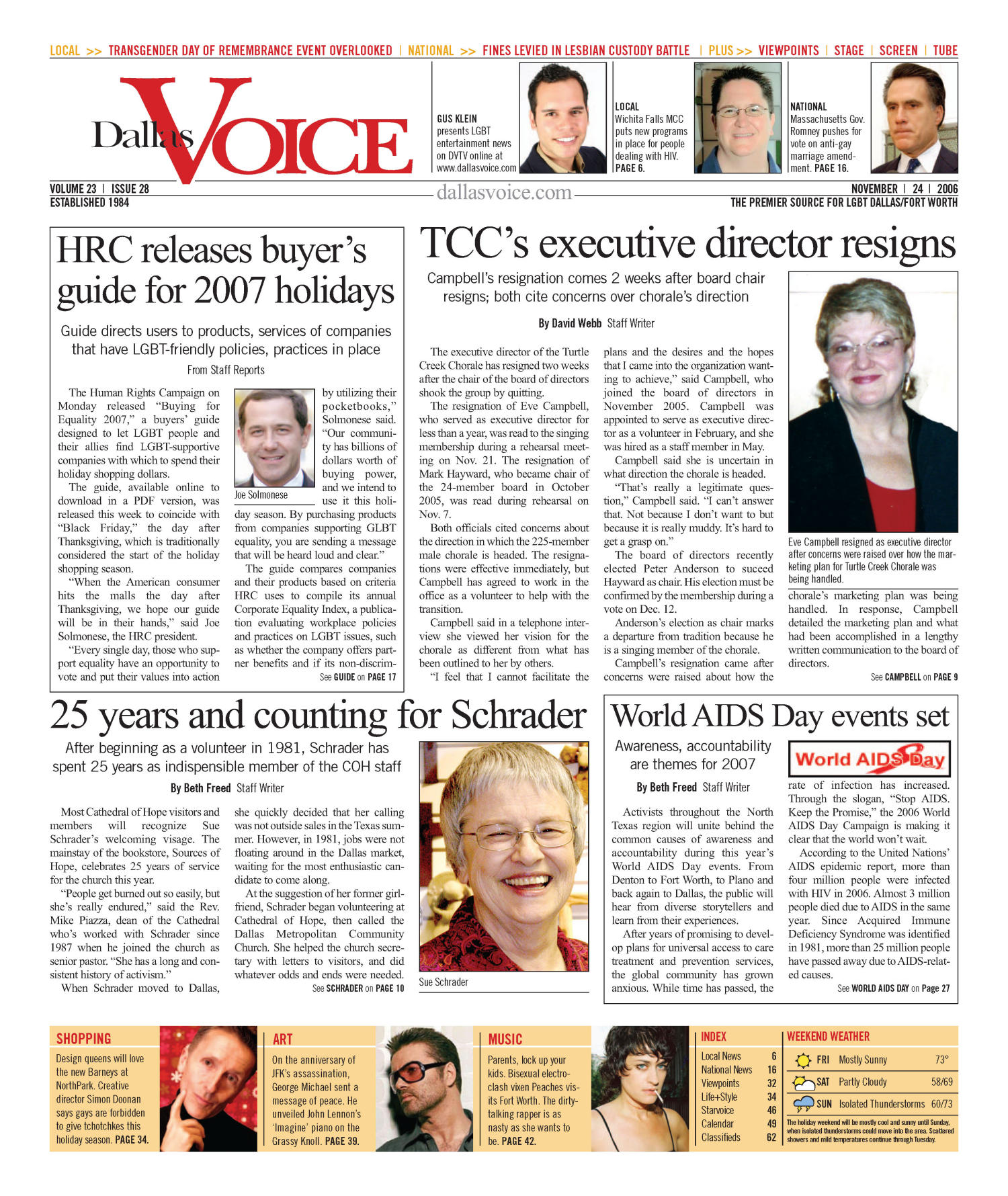 Dallas Voice (Dallas, Tex.), Vol. 23, No. 28, Ed. 1 Friday, November 24, 2006                                                                                                      [Sequence #]: 1 of 68