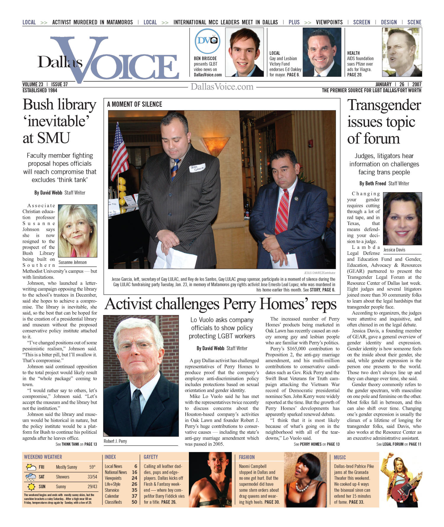 Dallas Voice (Dallas, Tex.), Vol. 23, No. 37, Ed. 1 Friday, January 26, 2007                                                                                                      [Sequence #]: 1 of 56
