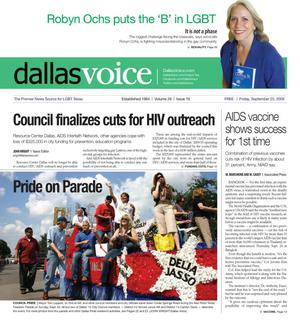 Primary view of Dallas Voice (Dallas, Tex.), Vol. 26, No. 19, Ed. 1 Friday, September 25, 2009