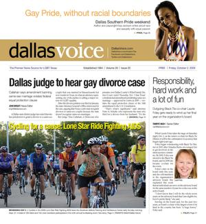 Primary view of object titled 'Dallas Voice (Dallas, Tex.), Vol. 26, No. 20, Ed. 1 Friday, October 2, 2009'.