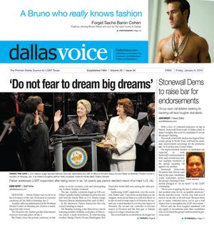Primary view of object titled 'Dallas Voice (Dallas, Tex.), Vol. 26, No. 34, Ed. 1 Friday, January 8, 2010'.