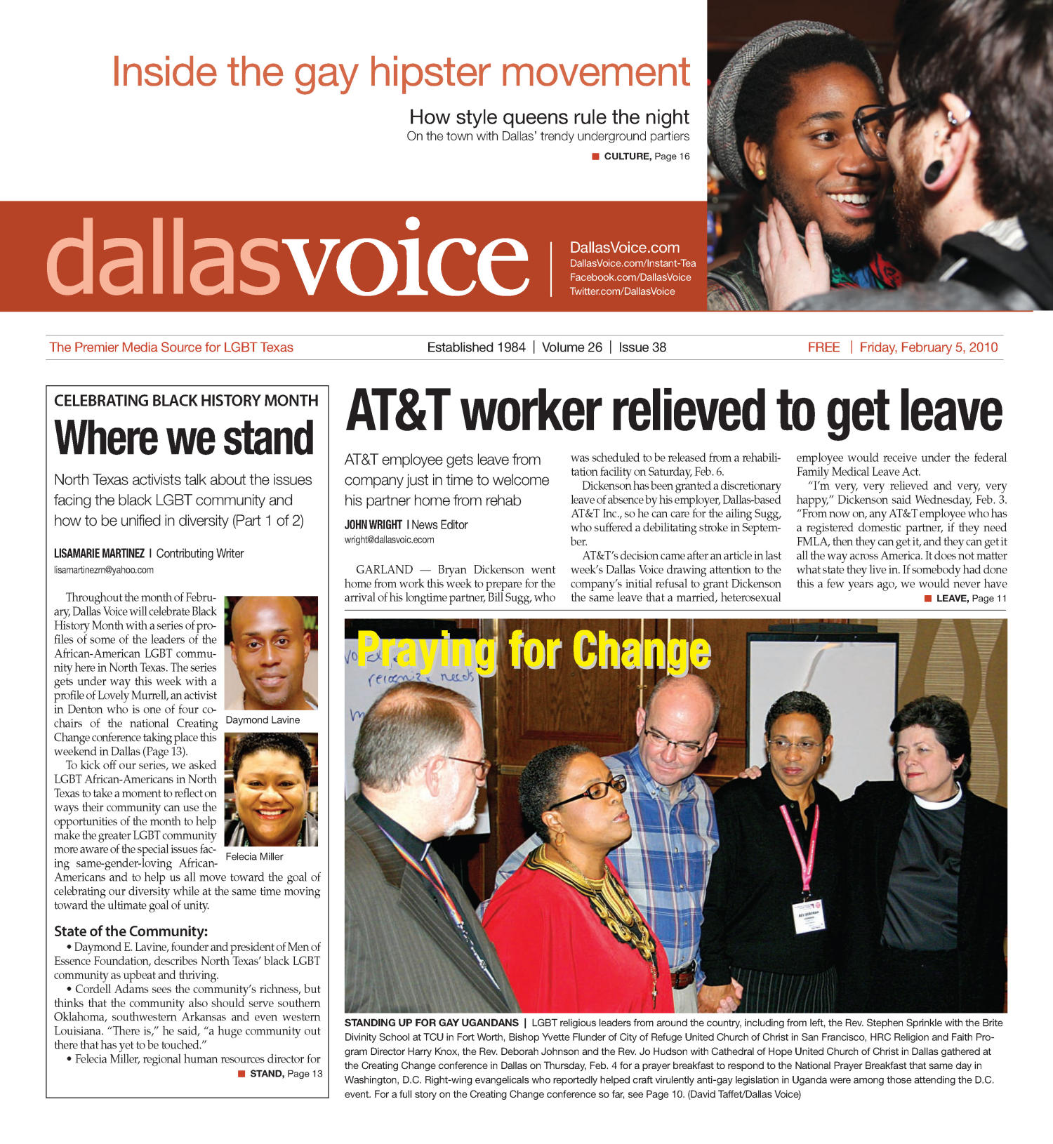 Dallas Voice (Dallas, Tex.), Vol. 26, No. 38, Ed. 1 Friday, February 5, 2010                                                                                                      [Sequence #]: 1 of 36
