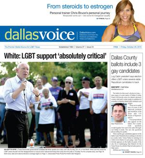 Dallas Voice (Dallas, Tex.), Vol. 27, No. 24, Ed. 1 Friday, October 29, 2010