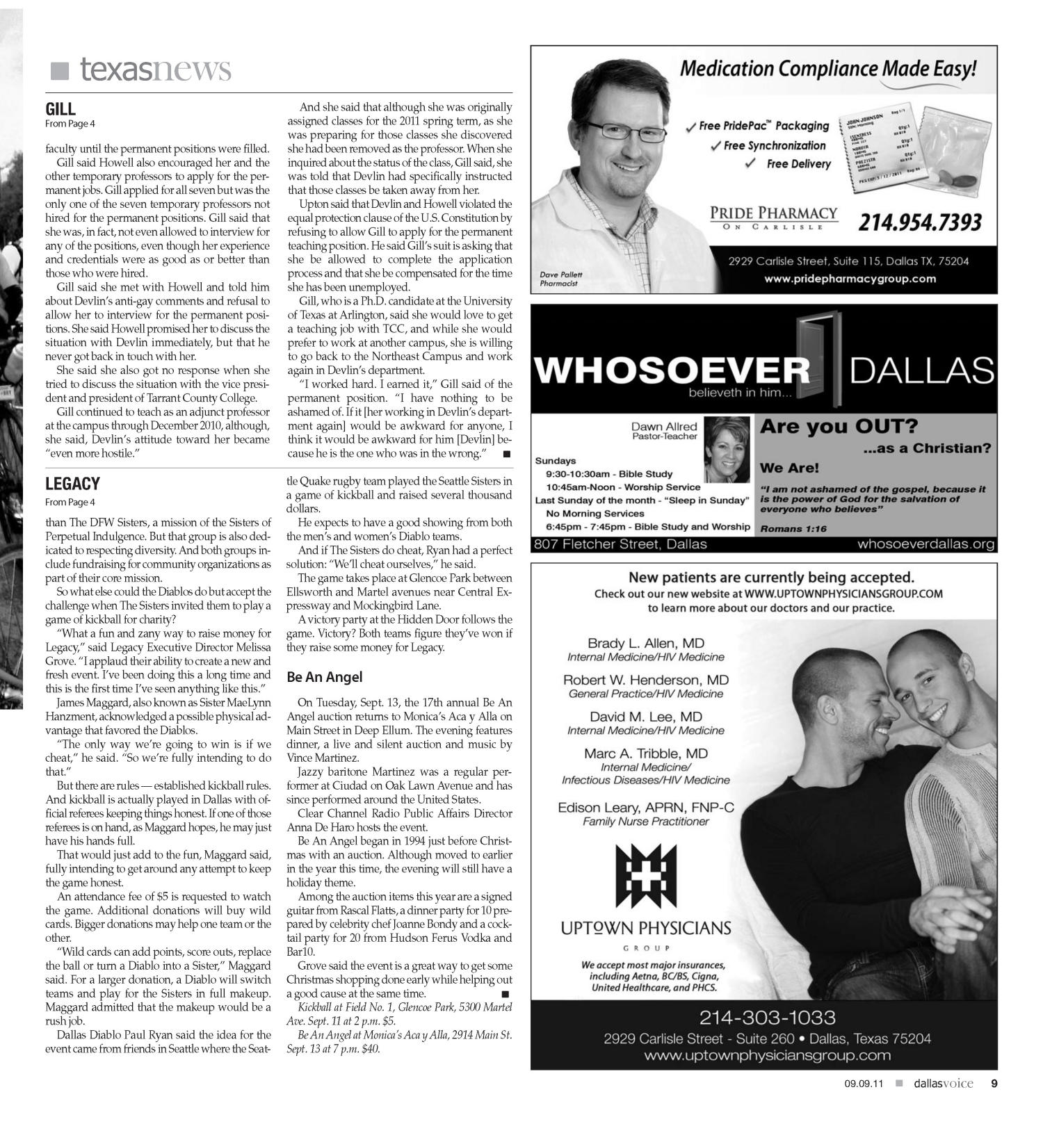 Dallas Voice (Dallas, Tex.), Vol. 28, No. 17, Ed. 1 Friday, September 9, 2011                                                                                                      [Sequence #]: 9 of 48