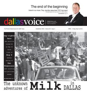 Primary view of object titled 'Dallas Voice (Dallas, Tex.), Vol. 29, No. 1, Ed. 1 Friday, May 18, 2012'.