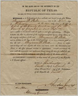 Primary view of object titled 'Certificate of Election'.