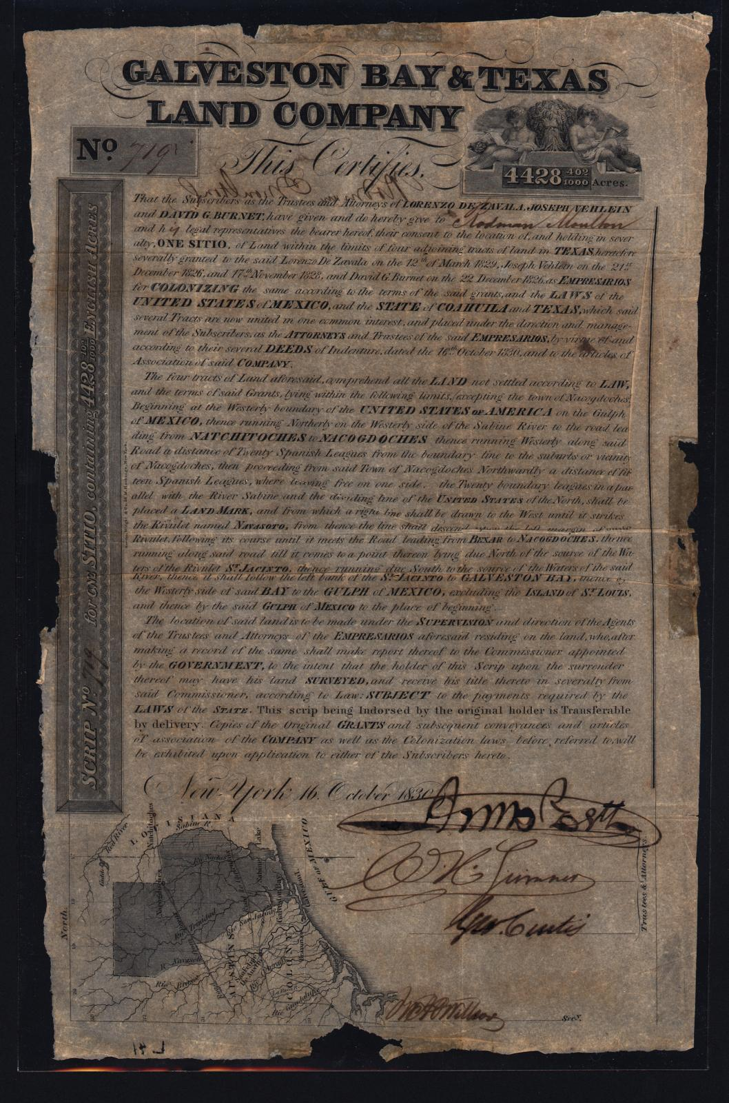[Galveston Bay and Texas Land Company Certificate]                                                                                                      [Sequence #]: 1 of 1