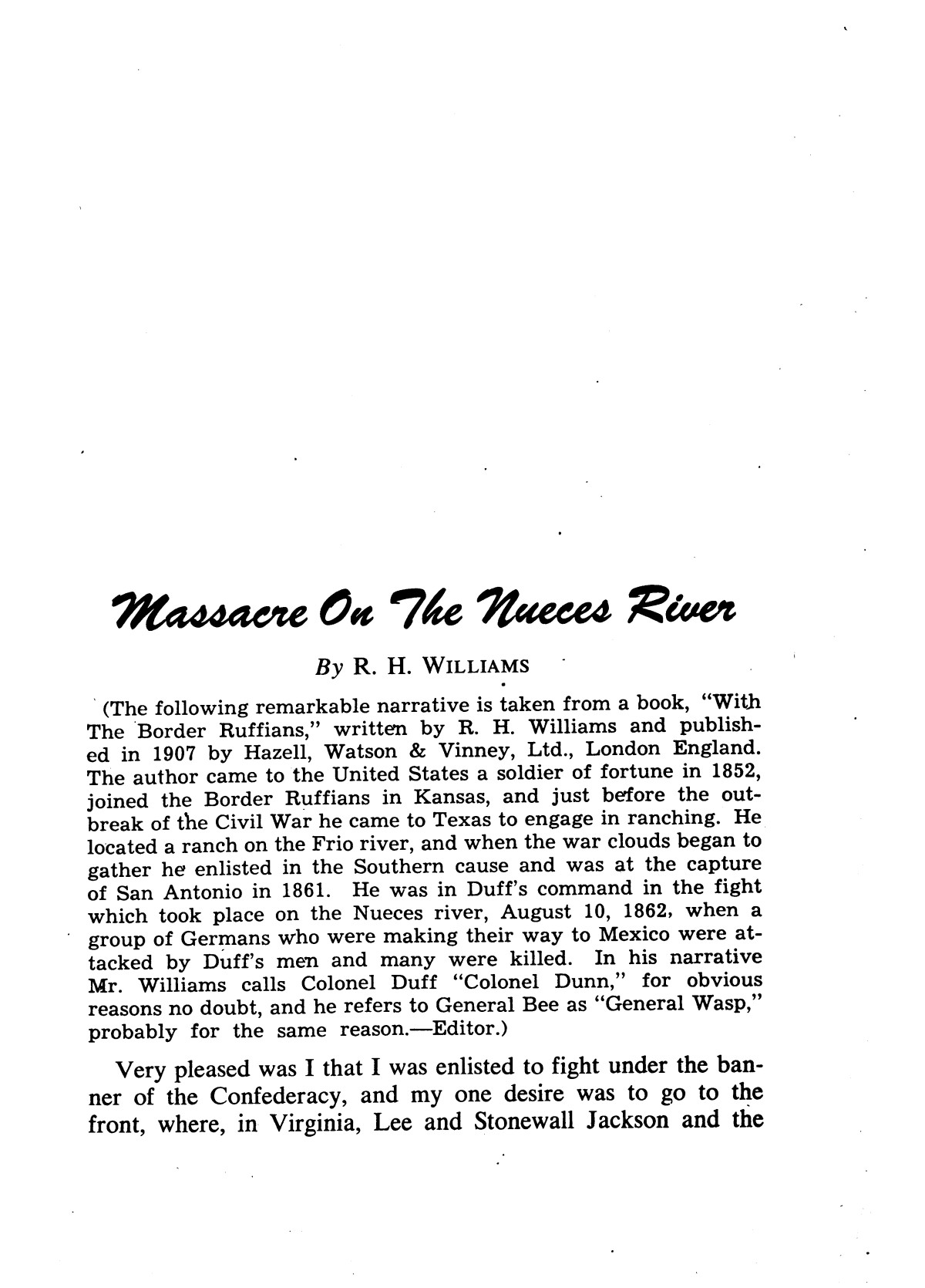 Massacre on the Nueces River; story of a Civil War tragedy.                                                                                                      [Sequence #]: 4 of 39