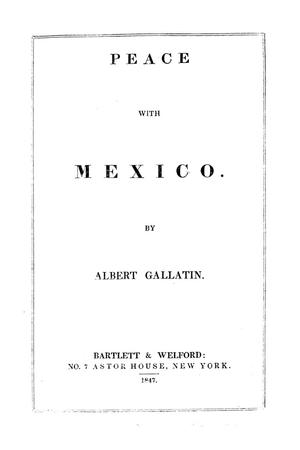Primary view of object titled 'Peace With Mexico'.